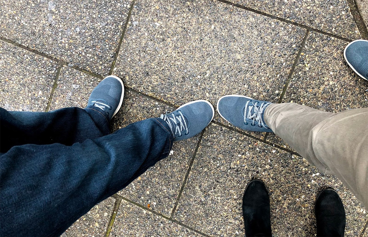Wearing the same pair of Allbirds shoes as my friend.