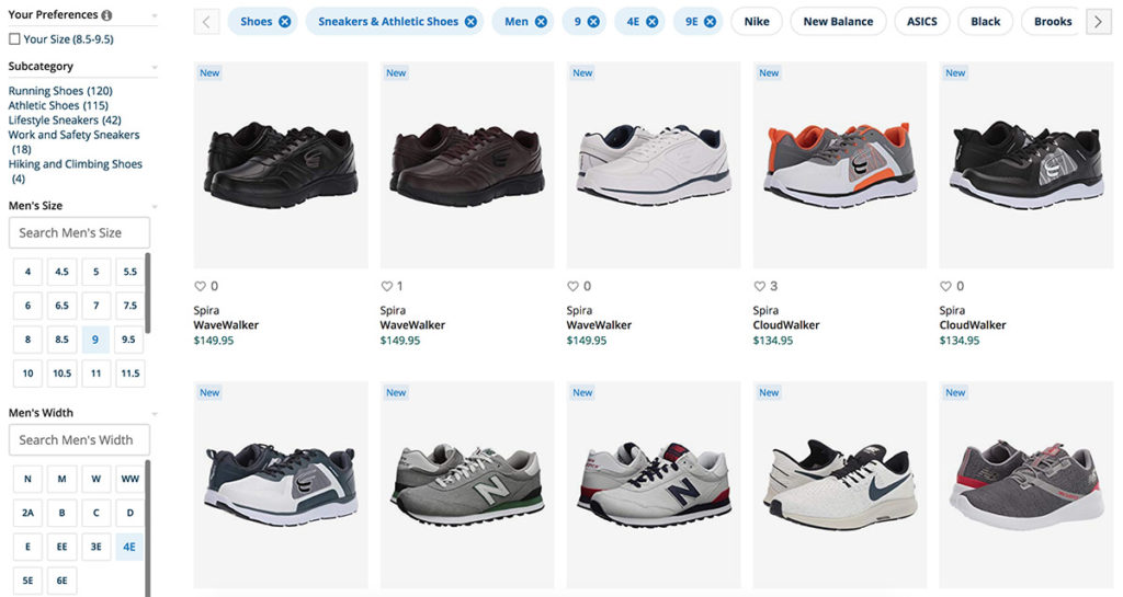 A screenshot of the Zappos website with filtering options